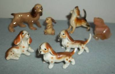 Vintage Lot Of Miniature Dog Figurines ~  Porcelain, Stone & Plastic