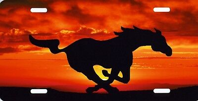 Mustang Horse Logo Silhouette Sunset Orange Background Metal License Plate Sign