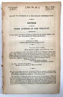 1832 INDIANS – Relief to United States Citizens for Indian Depredations