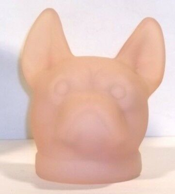 Boyd Glass Made in 1982 French Bulldog Dog Head FROSTED SATIN Tuscan Pink FUND