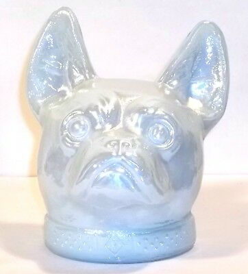 Boyd Glass ONLY 30 MADE in 1984 French Bulldog Dog Head CARNIVAL White Milk FUND