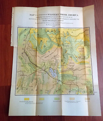1879 Map of Western US Vegetation Rocky Mountain Locust OR WY Henry Gannett
