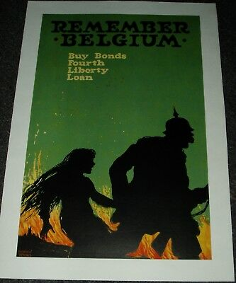 "Original U.s. Ww1 Poster ""remember Belgium"" 1918 Bright Strong Colors No Fade"