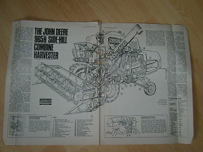 John Deere 965H Side Hill Combine  Cut Away Drawing Power Farming 1977 1923E