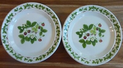 """2 PORTMEIRION Side Plates """"SUMMER STRAWBERRIES""""  by A. Menna -- Made in England"""