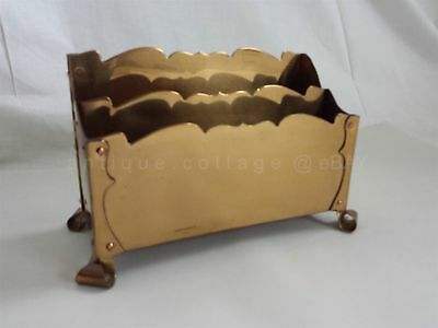 vintage/antique VERY HEAVY BRASS/METAL footed DESK LETTER HOLDER gr8 condition