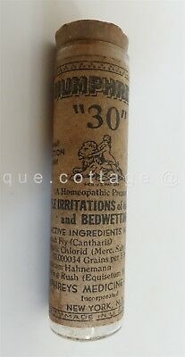 antique HUMPHREY'S 40 quack medicine BOTTLE for BEDWETTING BLADDER VIAL contents