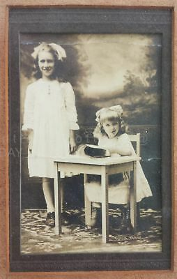"""1903 antique FRAMED PHOTOGRAPH 6.5""""x8.5"""" id'd LILLY CAREN cute sisters desk mag"""