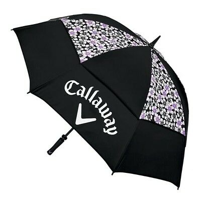 "Callaway Golf Women's Uptown 60"" Double Canopy Umbrella Floral Black / Purple"