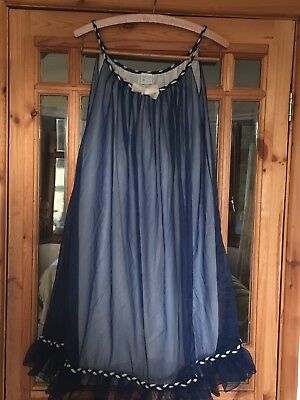 Vintage St.Michael Bri Nylon Nightdress/nighty Navy Blue & White 2 Layers