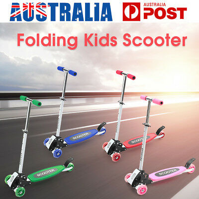 Folding Kids Scooter 3 Wheels Kick Push Adult Childrens Adjustable Height Brake