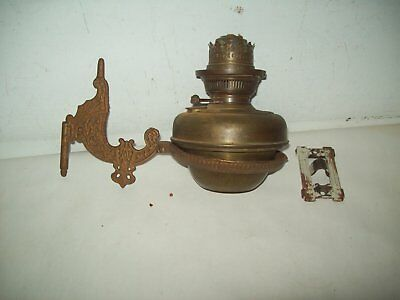 1880's Antique brass Wizard Germany  bracket oil lamp w/  bradley & Hubbard B&H