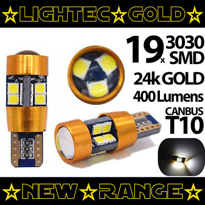 2X Lightec Gold 19 Smd High Power T10 W5W Canbus Led Bulbs Pure White 6000K 24K