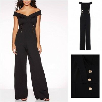 EX QUIZ NEW Black Bardot Button Wide Leg Jumpsuit  RRP £37 Size 10 12 14 16 18UK