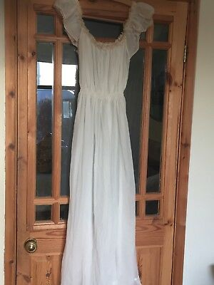 Vintage Cream Nightdress/Nighty 1940's/50's Long Length Honeymoon Nightwear
