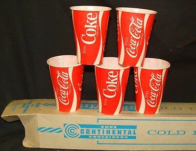 (100) CUP SLEEVE * 7 OZ * COCA COLA Coke Waxed Paper Cups 1970 Roller Skating