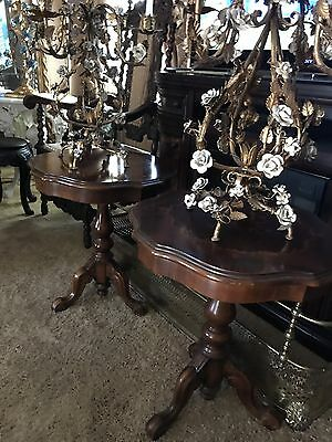 Antique Pair Italian 5 Light Wrought Iron Chandelier Table Lamps Gilded Roses