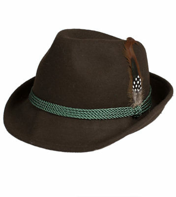 Schuhmacher Traditional Costume Hat HT750 Brown with Feather