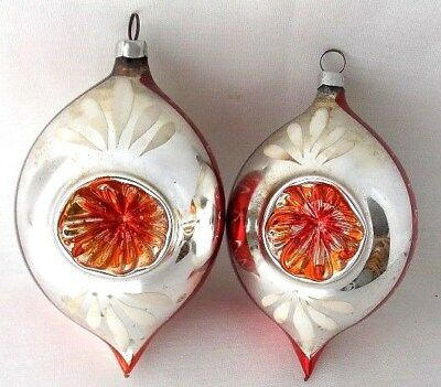2 Antique Dbl Indent Hand Painted Occupied Germany Glass Christmas Ornaments Vtg