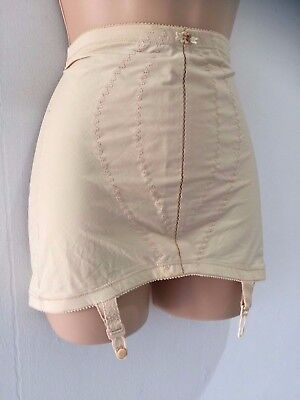 Vintage Playtex Nude Stitch & Flower Open Corset Girdle With Suspenders 10-12