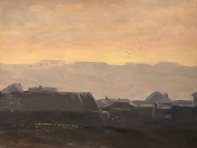 Russian Impressionist Landscape At Sunset Oil Painting - Early 20Th Century
