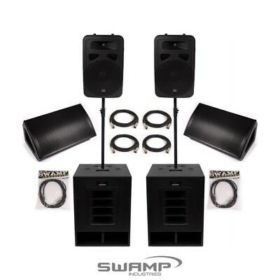 SWAMP Powered PA System 2x Subs +  2x FOH + 2x Foldback Speakers - 1960W