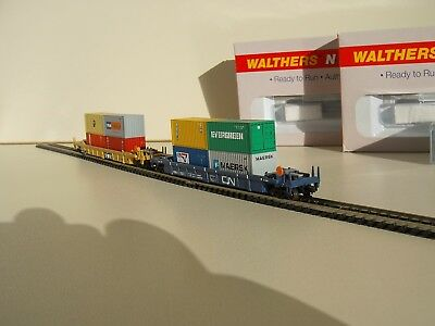 2 x Walthers N Scale Double Stack Car, US Containerwagen