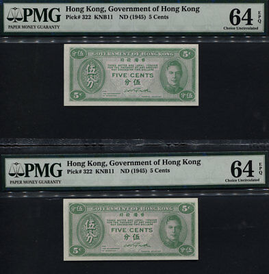 "Tt Pk 322 1945 Hong Kong 5 Cents ""king George Vi"" Pmg 64 Epq Set Of Two Notes!"