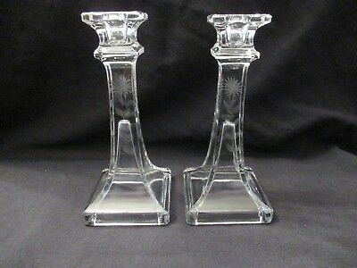Vintage Clear Glass Square Base Etched Candlestick 7""