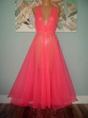 "Vintage Coral Sheer Chiffon Nightgown Negligee Grand 275"" Sweep M-L"