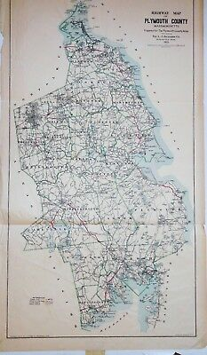 Original Lg 1903 Highway Map of Plymouth County MA Massachusetts Mass Richardson