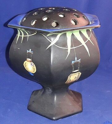 Rare Art Deco Crown Ducal Chinese Lanterns Carnival Vase With Flower Frog