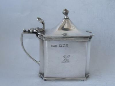Quality Large Crested Antique Solid Sterling Silver Mustard Pot 1914/ L 8.7 cm