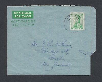 FIJI 1950's 6d  AEROGRAMME AIR LETTER SUVA TO BULLS NEW ZEALAND