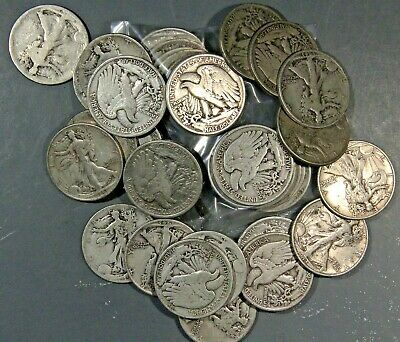 $10 Face Value Walking Liberty Half Dollars 90% Silver (Lot Of 20 Coins)
