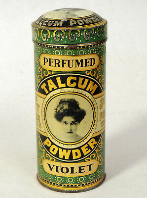 Antique vtg Victorian Perfumed Violet TALC TIN c1910 Vanity Talcum Powder Bottle