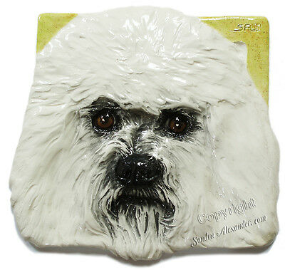 Bichon Frise Ceramic dog tile bas-relief handmade by Sondra Alexander Art