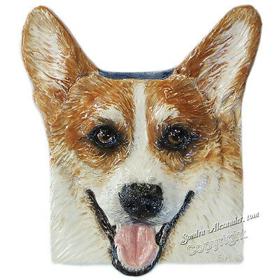 Welsh Corgi Ceramic dog portrait 3d tile Handmade sculpture Alexander Art