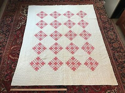 Antique Raspberry Delectable Mountain Quilt White red Stars Flying Geese Vintage