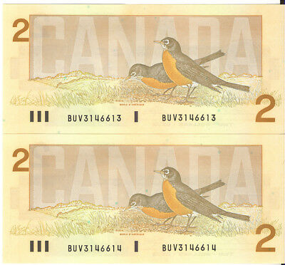Canada 1986 $2 Two Dollars Lot of 2 Consecutive Notes Thiessen-Crow UNC BUV
