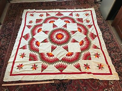 Antique Quilt TOP Cheddar Red White Broken Star Lone of Bethlehem appliqué WOW!!