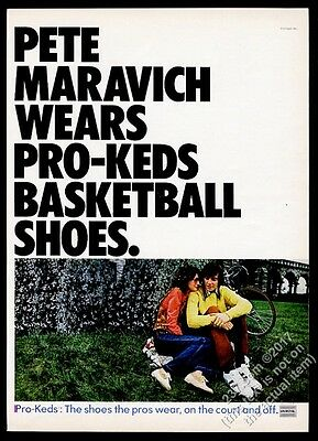 1972 Pistol Pete Maravich photo Pro-Keds basketball shoes vintage print ad