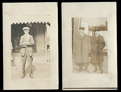 2 Vintage Antique RPPC Real Photo Postcards  Men with Hats Some Identified N/R