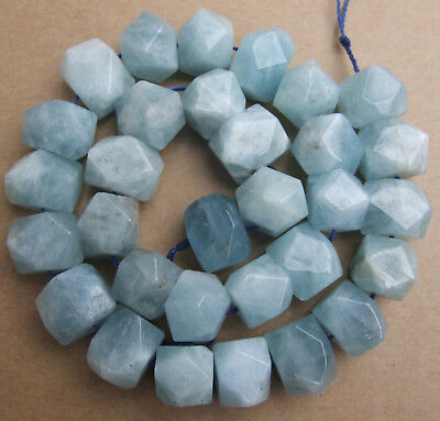 13x16mm Natural Blue Aquamarine Nugget Loose Beads 15.5""