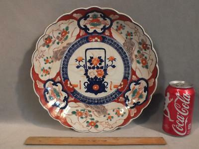 "Antique Japanese Imari Meiji Period 12"" Scalloped Charger With Flower Basket"