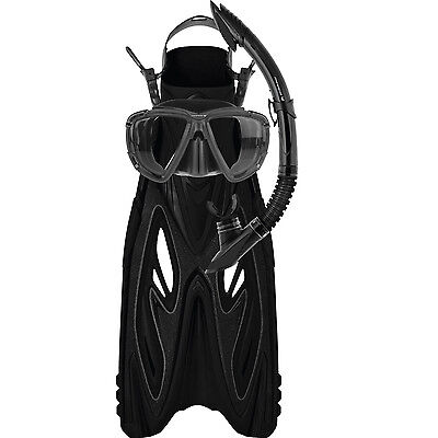 Mirage Rayzor Adult Snorkel Package Flipper Snorkel Mask BLACK S/M LAST ONE