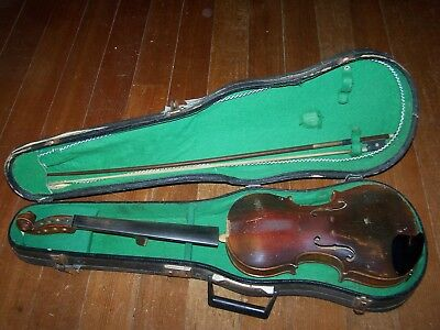 FIGURED ANTIQUE 3/4 SIZE  VIOLIN Jacobus Strainer 1663 W/CASE & BOWS AS IS