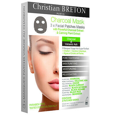 NOUVEAU Christian BRETON Age Priority Charcoal Facial Patches Masks x 3
