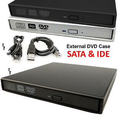 Laptop USB To SATA CD DVD Rom RW Drive External Cover Caddy Case Enclosure PC