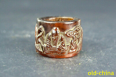 Collectible China Amber Resin Old Handwork Carving Man And Friend Musice Ring